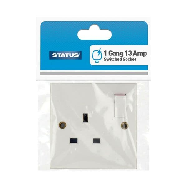 Electric Wall Sockets White Status 13 Amp 1 Gang Switched Electrical Wall Socket